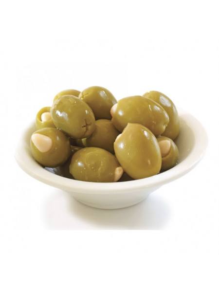 Зеленые оливки PALLADA фаршированные Чесноком S.Colossal 111-120 (0,720 p/kg) стекло