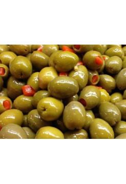 """Зеленые оливки """"PALLADA"""" фаршированные ПЕРЦЕМ S.Mammouth 111-120 ж/б (2,0 кг) Б/К"""