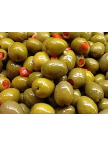 Зеленые оливки, фаршированные перцем,  S.Mammouth 111-120 шт на кг ж/б, вес 2,0 кг