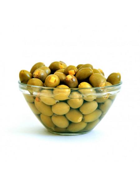 """Зеленые оливки """"PALLADA"""" фаршированные  ЛИМОНОМ S.Colossal 111-120 (0,720 p/kg) стекло"""