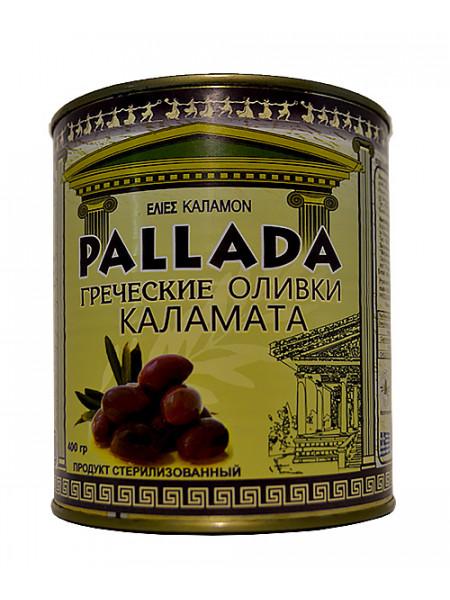 """Черные оливки """"PALLADA"""" КАЛАМАТА EXTRA JUMBO 161-180 ж/б (0,400 кг) С/К"""""""