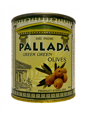 Оливки зеленые с косточкой в жесть банке 400 грамм, размер 71-90